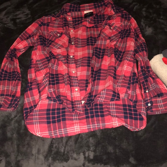 American Eagle Outfitters Other - oversized red/blue/white flannel